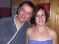 Thorsten und Silke Schmook in der Sauna